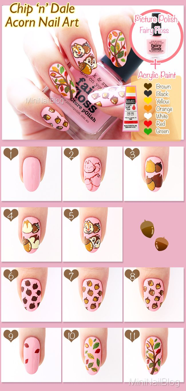 Chip And Dale Nail Art | how to nails | Pinterest | Art tutorials ...