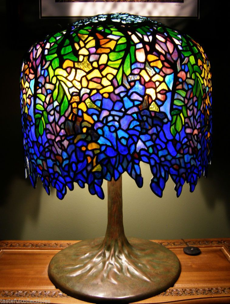 Tiffany Reproduction Stained Glass Wisteria Lamp on Solid Brass ...