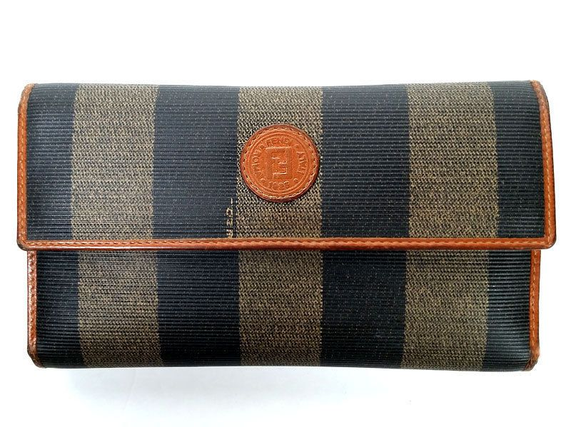 c2423fa09a84 Vintage FENDI PECAN   BLACK CANVAS   LEATHER ROOMY ORGANIZER WALLET  PRIMO    FENDI