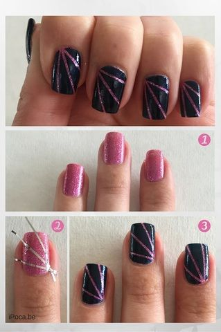 Girly Pink And Cool Blue Simple Nail Art That Looks Really Good Step By Step Tutorial Tape Nail Art Easy Nail Art Nail Art For Beginners