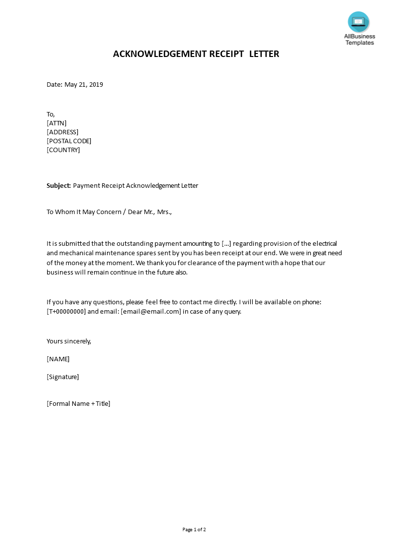How To Write An Acknowledgement Receipt Letter An Easy Way To Start Is To Download This Sample Payment Receipt Acknowl Letter Templates Lettering Mail Writing