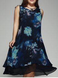 Vintage Plus Size Lotus Print Summer Dress For Women in Blue | Sammydress.com Mobile