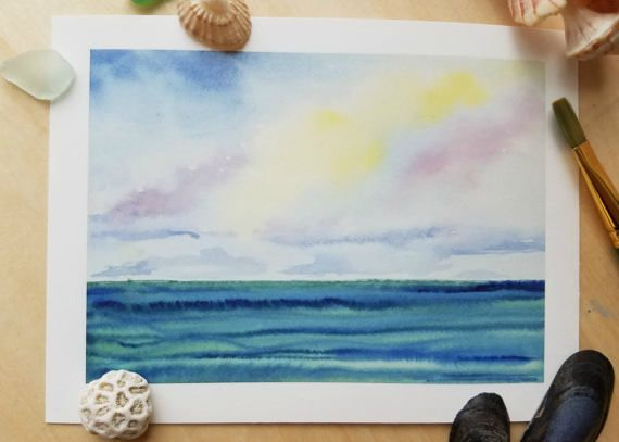 Tropical Watercolor Art Print Beach Painting Coastal Home Decor