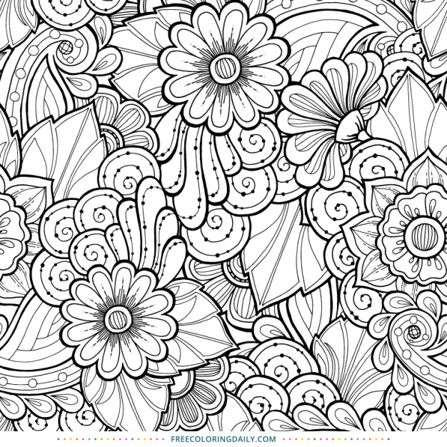 Free Coloring Printable Floral Swirls Free Coloring Daily Coloring Pages Seamless Background Flower Coloring Pages