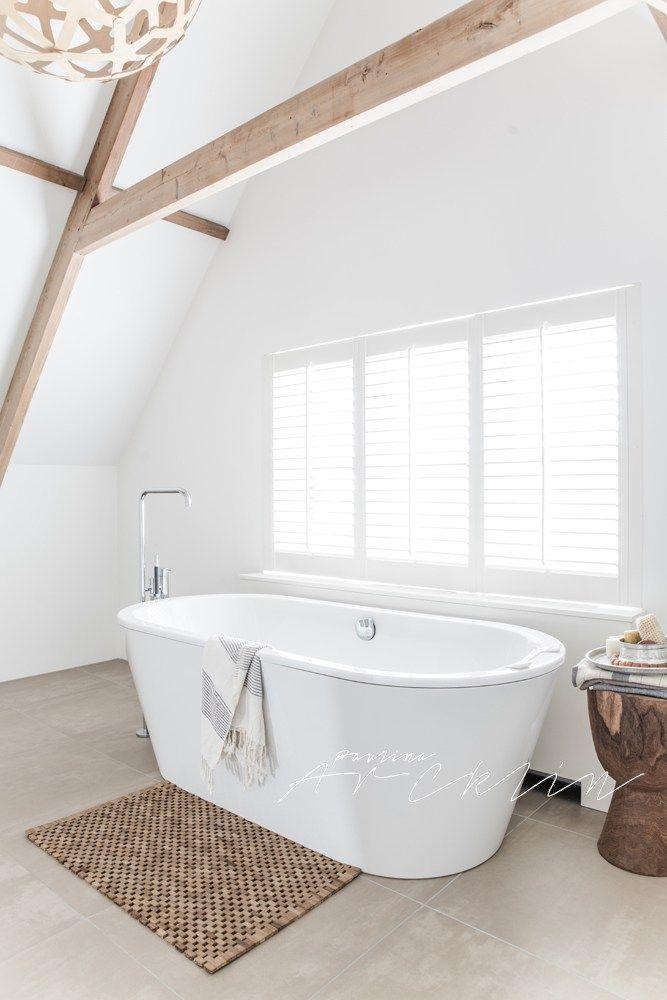 Blanco, madera natural y estampados étnicos   baño   Pinterest ...