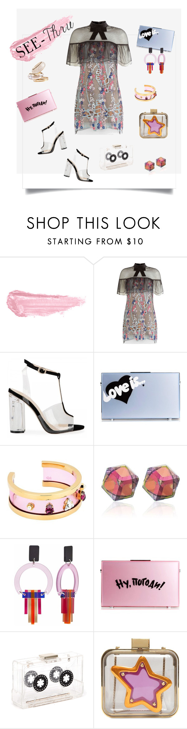 """Clear as....."" by ohnoflo on Polyvore featuring By Terry, self-portrait, Eshvi, Maria Francesca Pepe, River Island, Mawi, clear and Seethru"