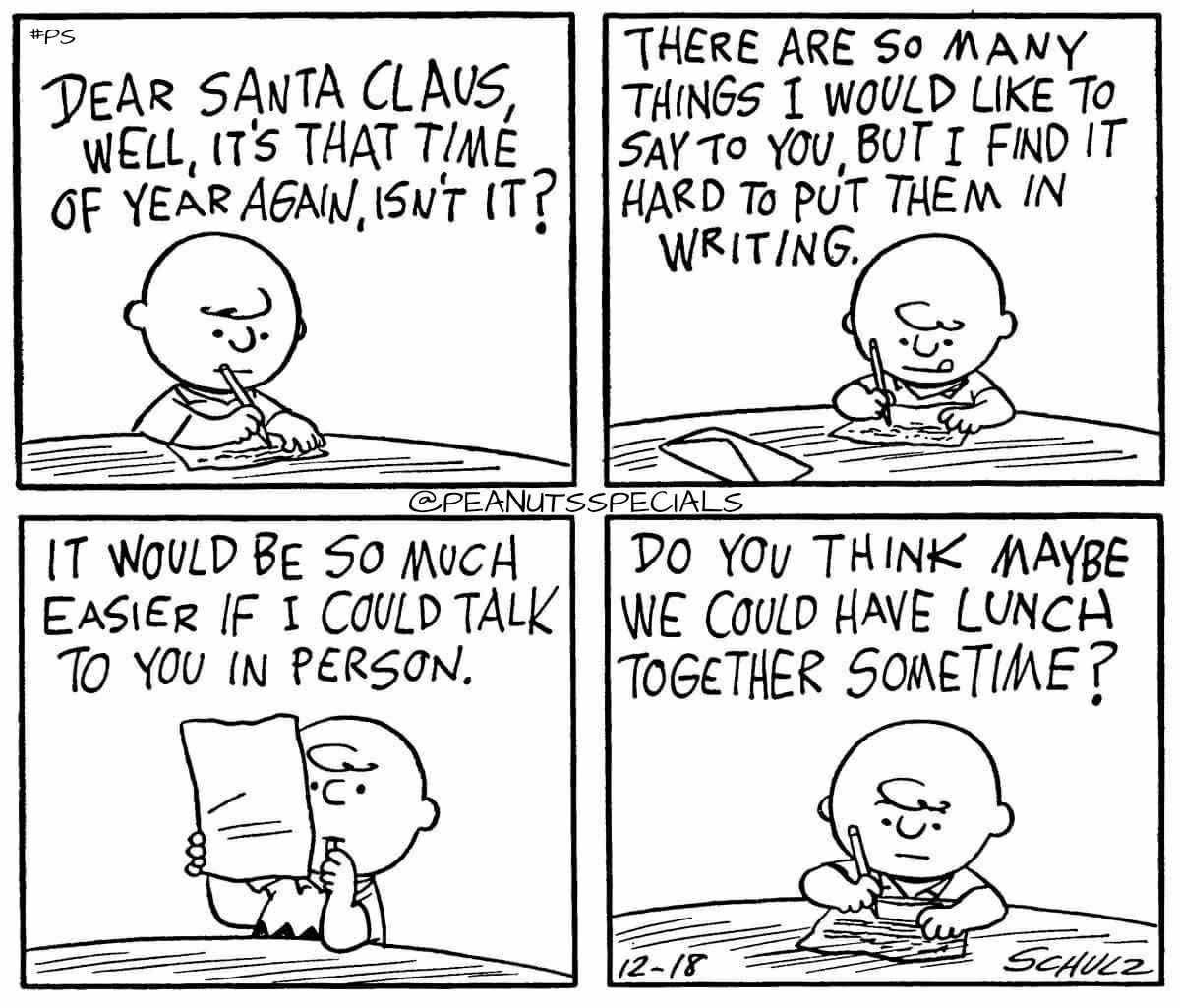 Charlie Brown asks Santa if they could have lunch together sometime ...