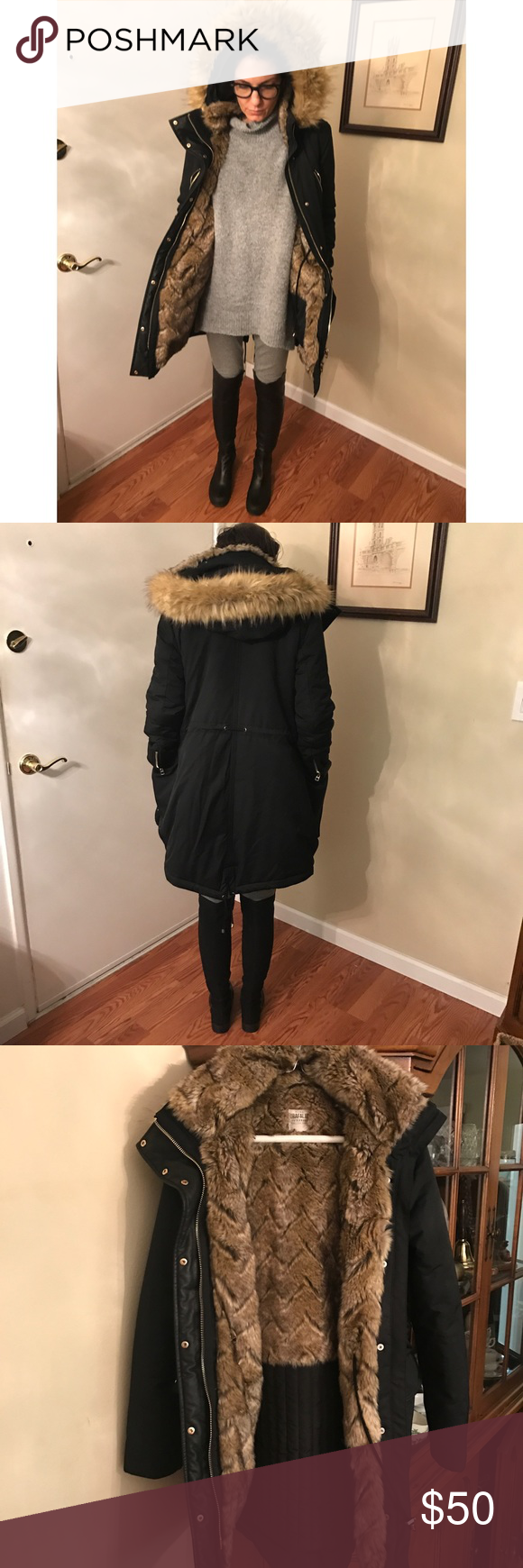 Zara Parka w/Faux Fur Lining and Hood XS Parka from Zara Worn 2times great condition. Bought in a lunch in london it's also in my photo of the Arsenal Beanie. This is not for Super Super cold temp but I was just in 30 in snow and it looked cute and did the job over my layers. Inside pockets and cozy faux fur lining. Zara Jackets & Coats Puffers