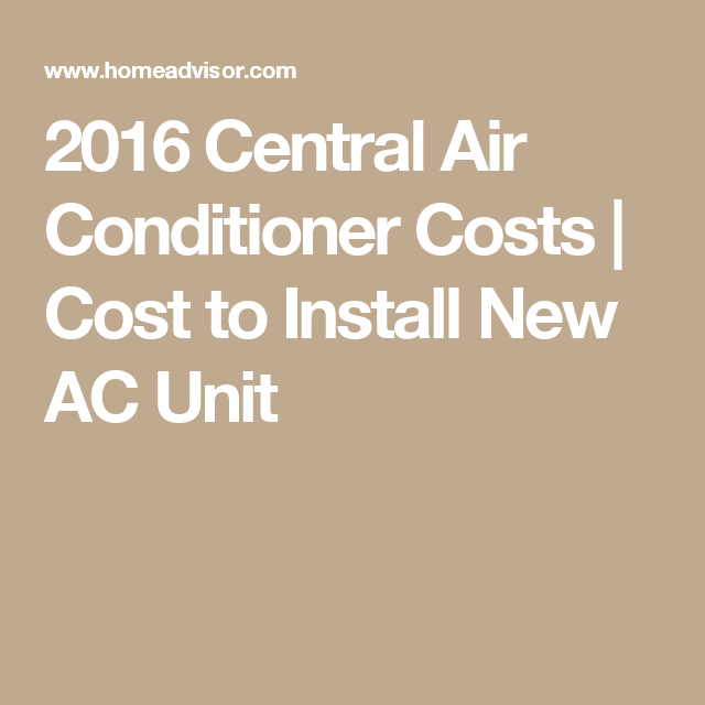 2016 Central Air Conditioner Costs