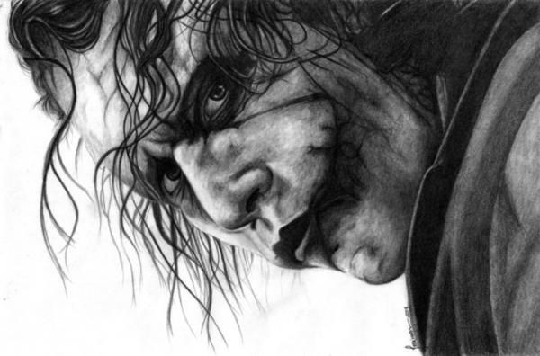 Pencil drawing of the joker
