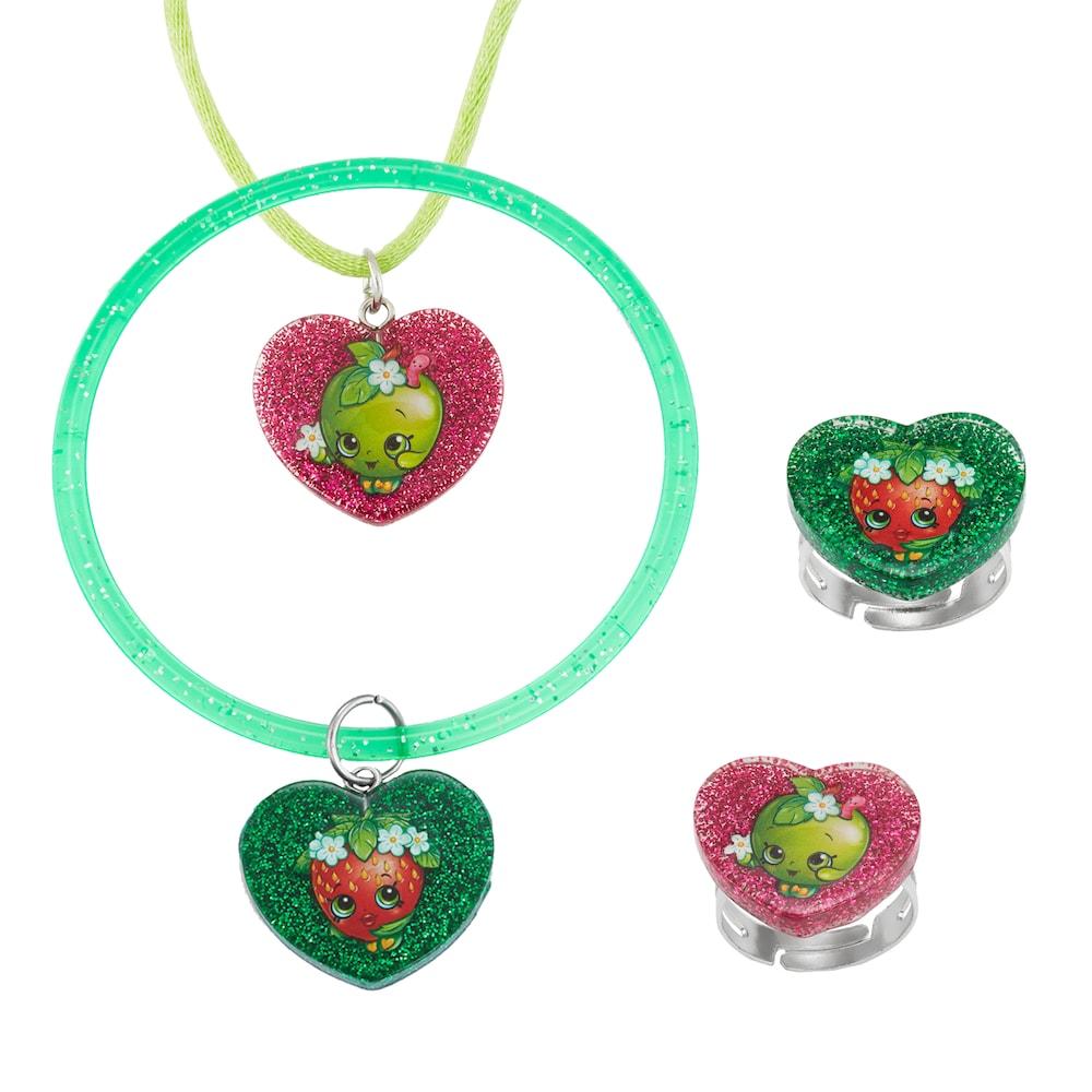 Shopkins apple blossom u strawberry kiss kidsu jewelry set