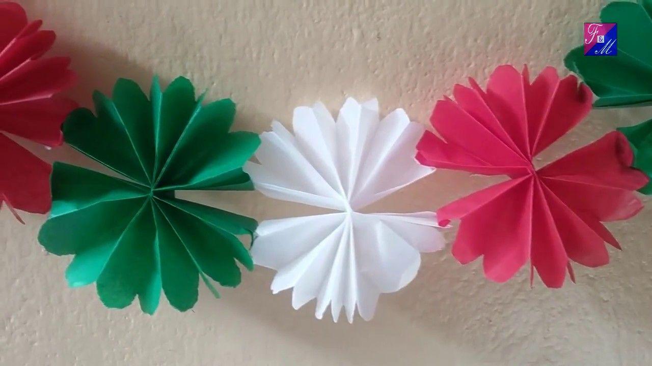 Guirnalda Tricolor De Flores En Papel China O Seda Manualidades 15 De Septiembre Para Niños Adornos Para Fiestas Patrias Manualidades
