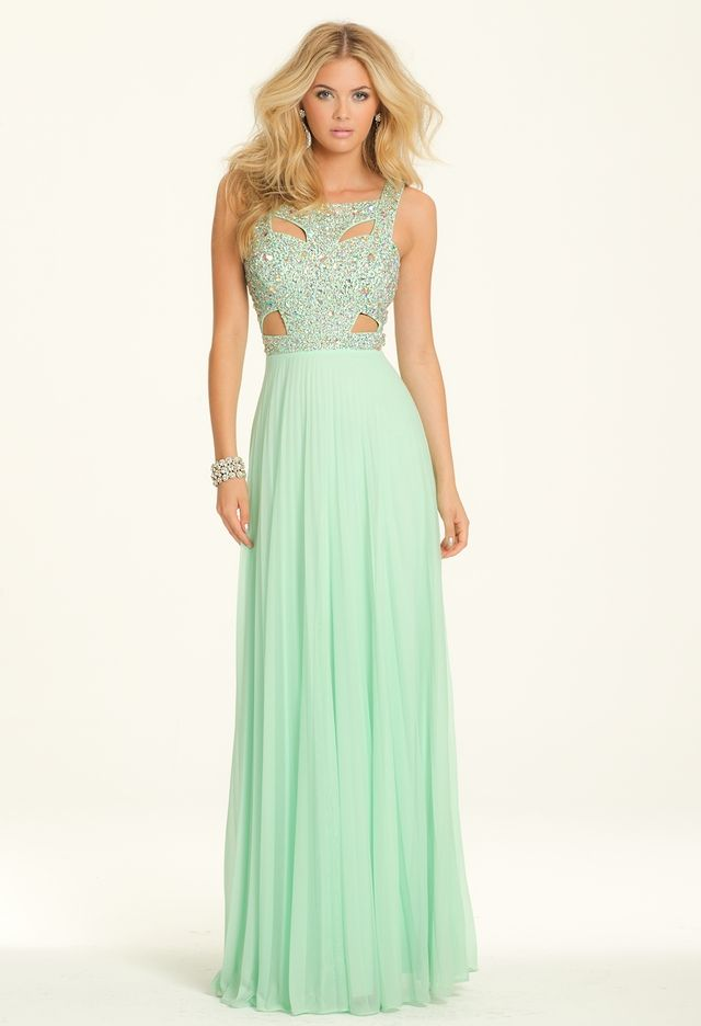 Pleated Mesh Cut Out Dress with Beaded Bodice from Camille La Vie ...