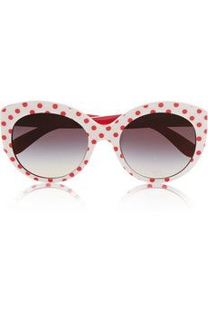 Dolce & Gabbana Cat eye polka-dot acetate sunglasses | NET-A-PORTER
