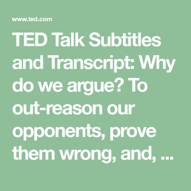 """Transcript Of """"For Argument's Sake"""""""