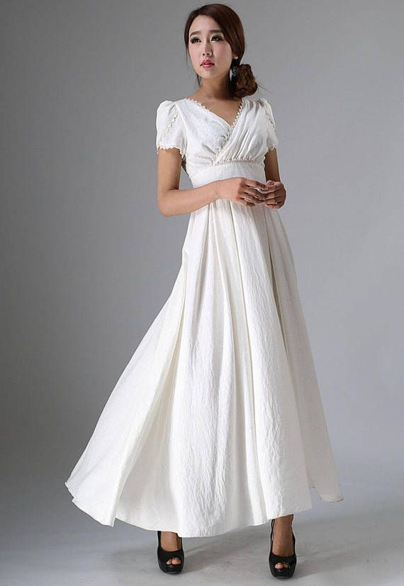 boho wedding dress,White long dress,Prom Dress,white dress,maxi ...