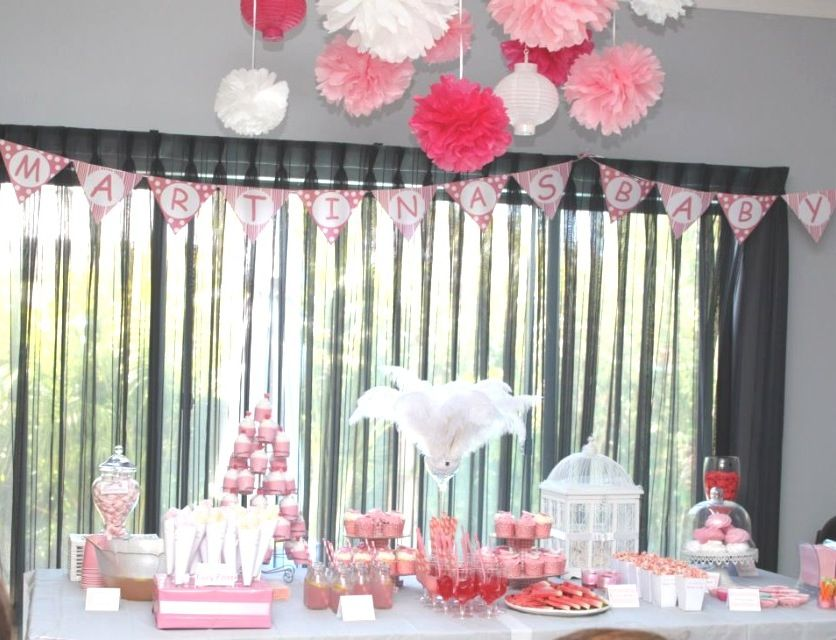 Pink Baby Shower For Girl. Pom Poms, Banner, Decorations, Pink Punch,