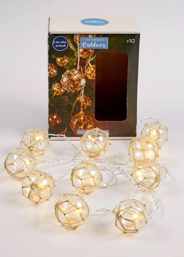 10 Pack Outdoor Rope Ball Solar Lights 2m Matalan