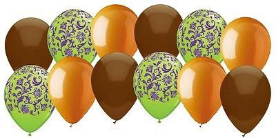 Autumn Theme Damask & Solid Latex Balloons