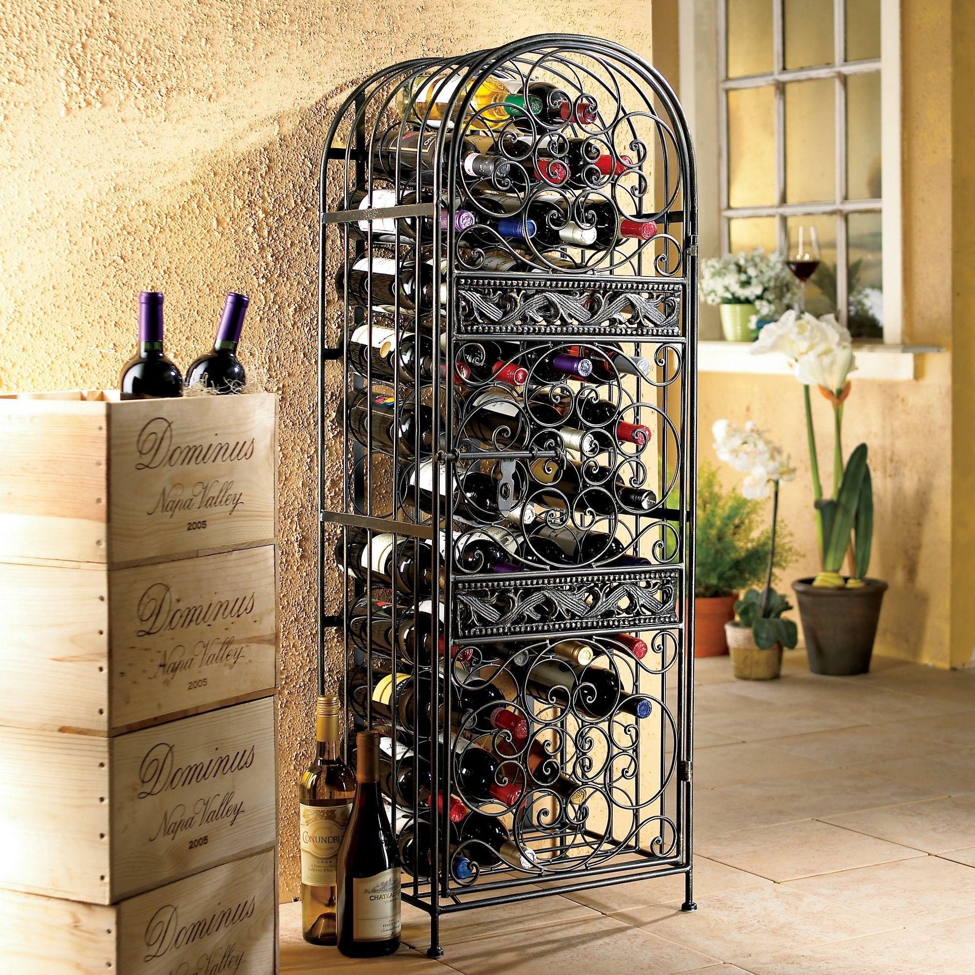 Renaissance Wrought Iron Wine Jail Iron Wine Rack Wrought Iron