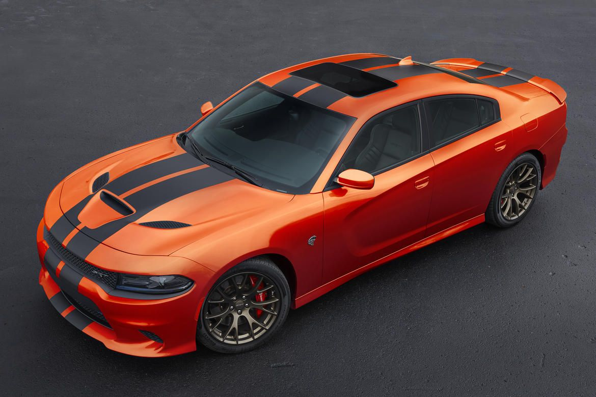 2016 dodge charger srt hellcat in go mango paint