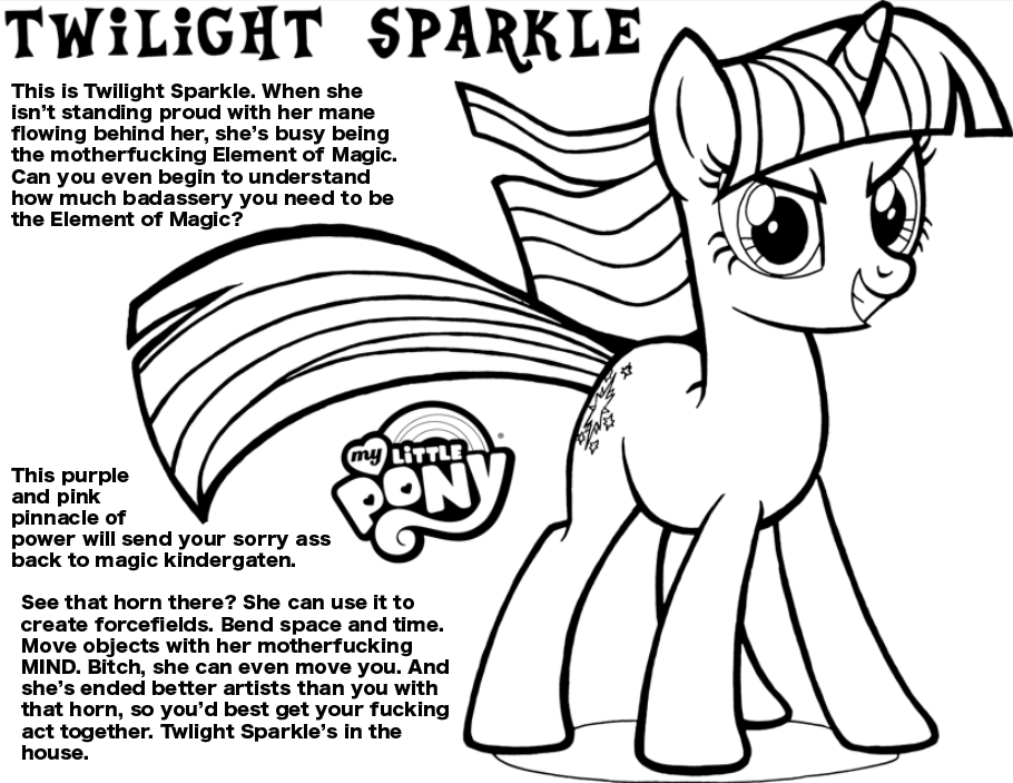 Aggressive Coloring Book Twilight Sparkle My Little Bronies