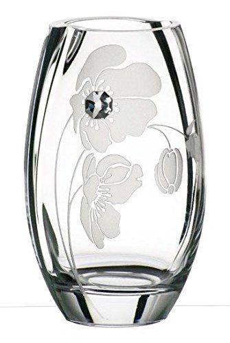 Hand Blown Glass Vase With Swarovski Crystal And Sandblasted Flower