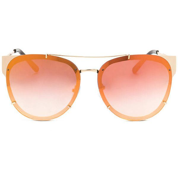 ORANGE Road Trip Frameless Round Sunglasses ($9.50) ❤ liked on Polyvore featuring accessories, eyewear, sunglasses, orange, rounded sunglasses, orange sunglasses, nose pads glasses, round glasses and lens glasses