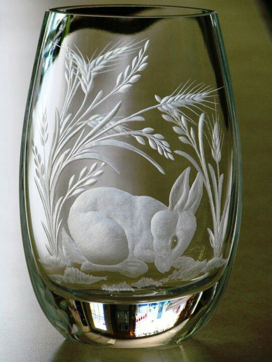 Bunny Hand Engraved Crystal Vase By Catherine Miller Using Stone