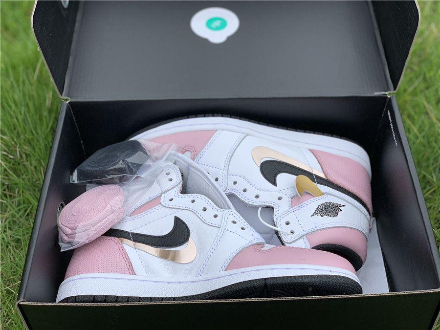 2019 Air Jordan 1 Retro High Og White Pink Black For Girls 4
