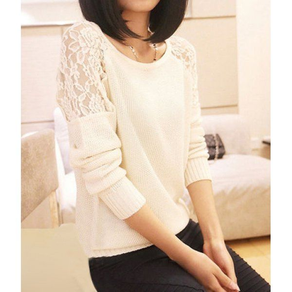 Lace Splicing Scoop Neck Long Sleeve Solid Color Sweater For Women