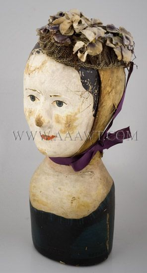 VINTAGE MILLINERY Canvas Cloth Head Block Form HAT WIG STAND Mannequin GEORGIAN