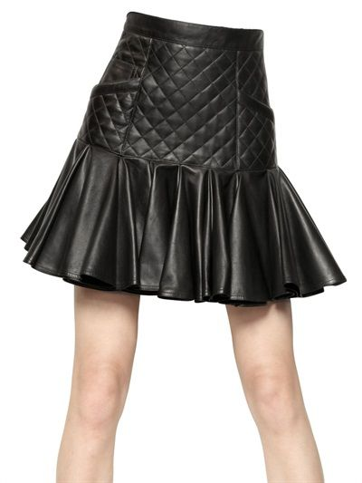 BALMAIN  QUILTED NAPPA LEATHER SKIRT - http://lustfab.com/shop-lust/balmain-quilted-nappa-leather-skirt/