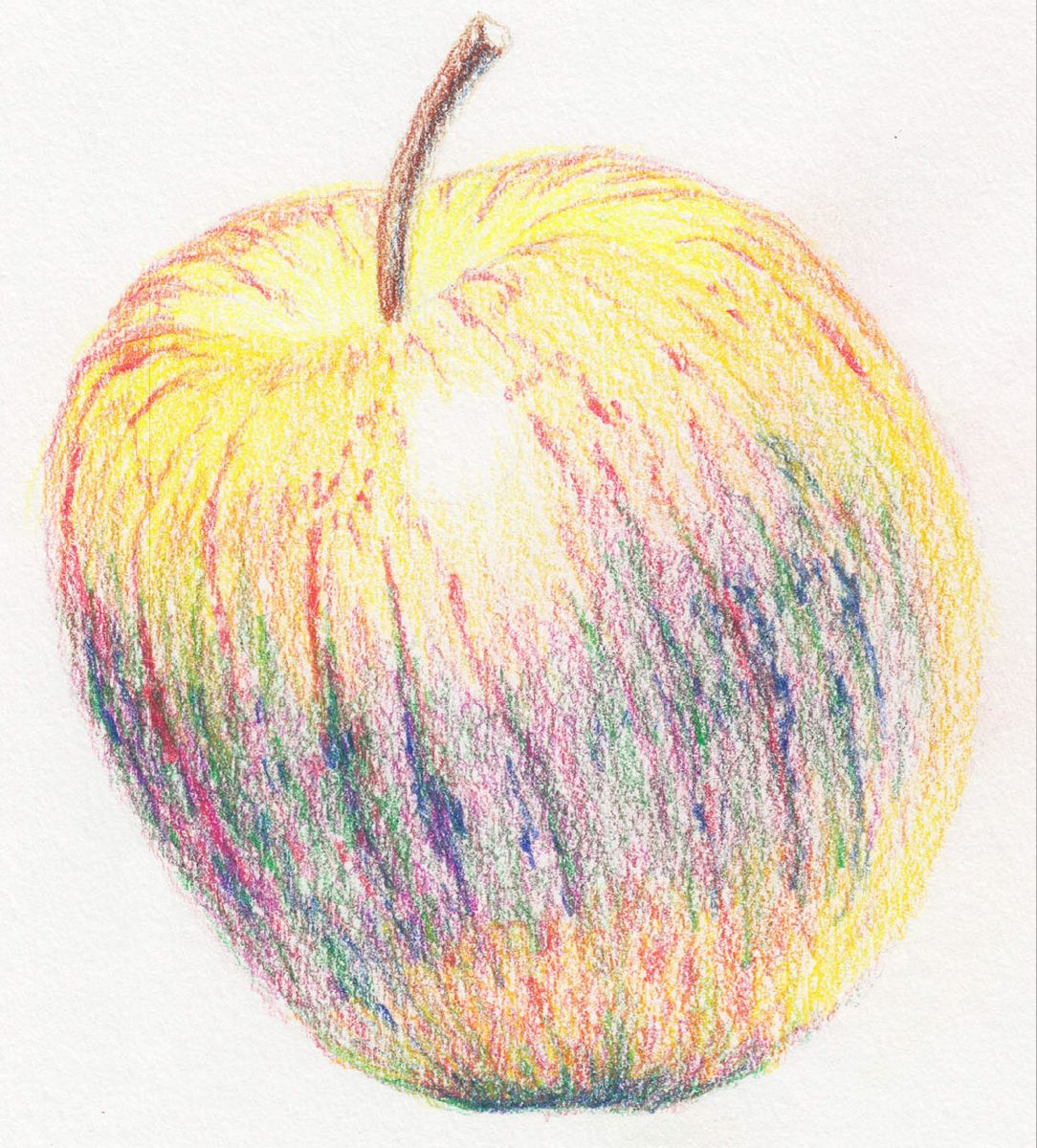 How to Draw a Juicy Apple using Coloured Pencil Colored