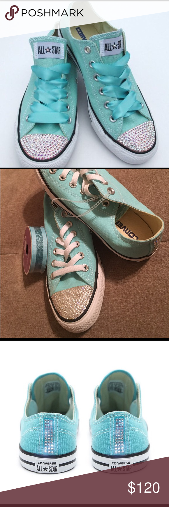 d0e90a4967ec Teal bling converse custom made Custom Order Today! 1-3 week turnaround  time from time of order until shoes delivered at your doorstep.