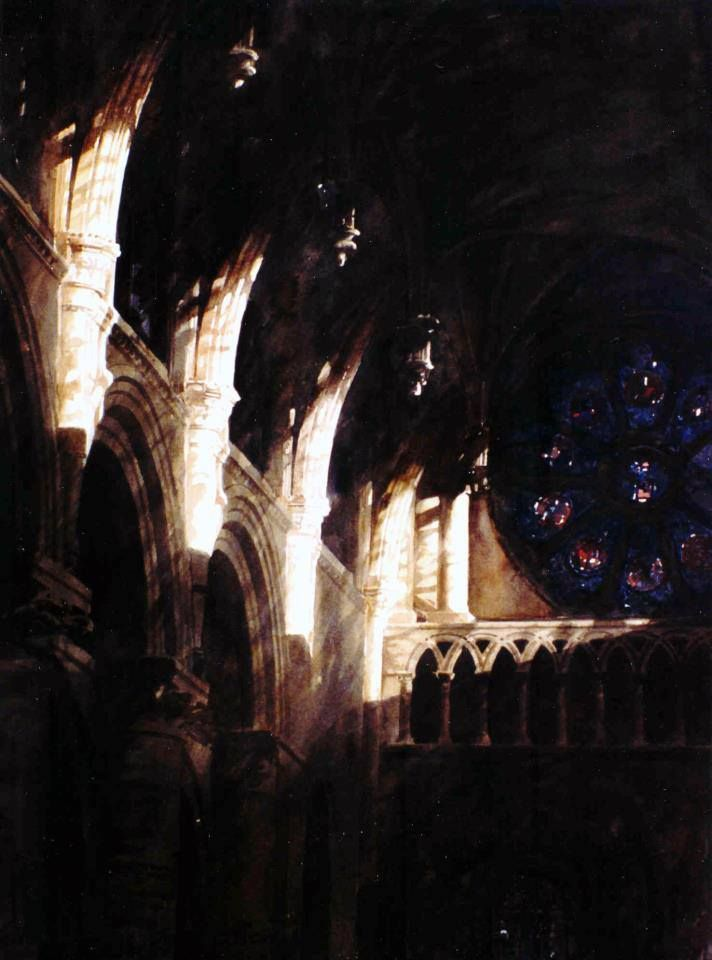 Paul Dmoch - Cathédrale d'Oxford - aquarelle originale - 100 x 65