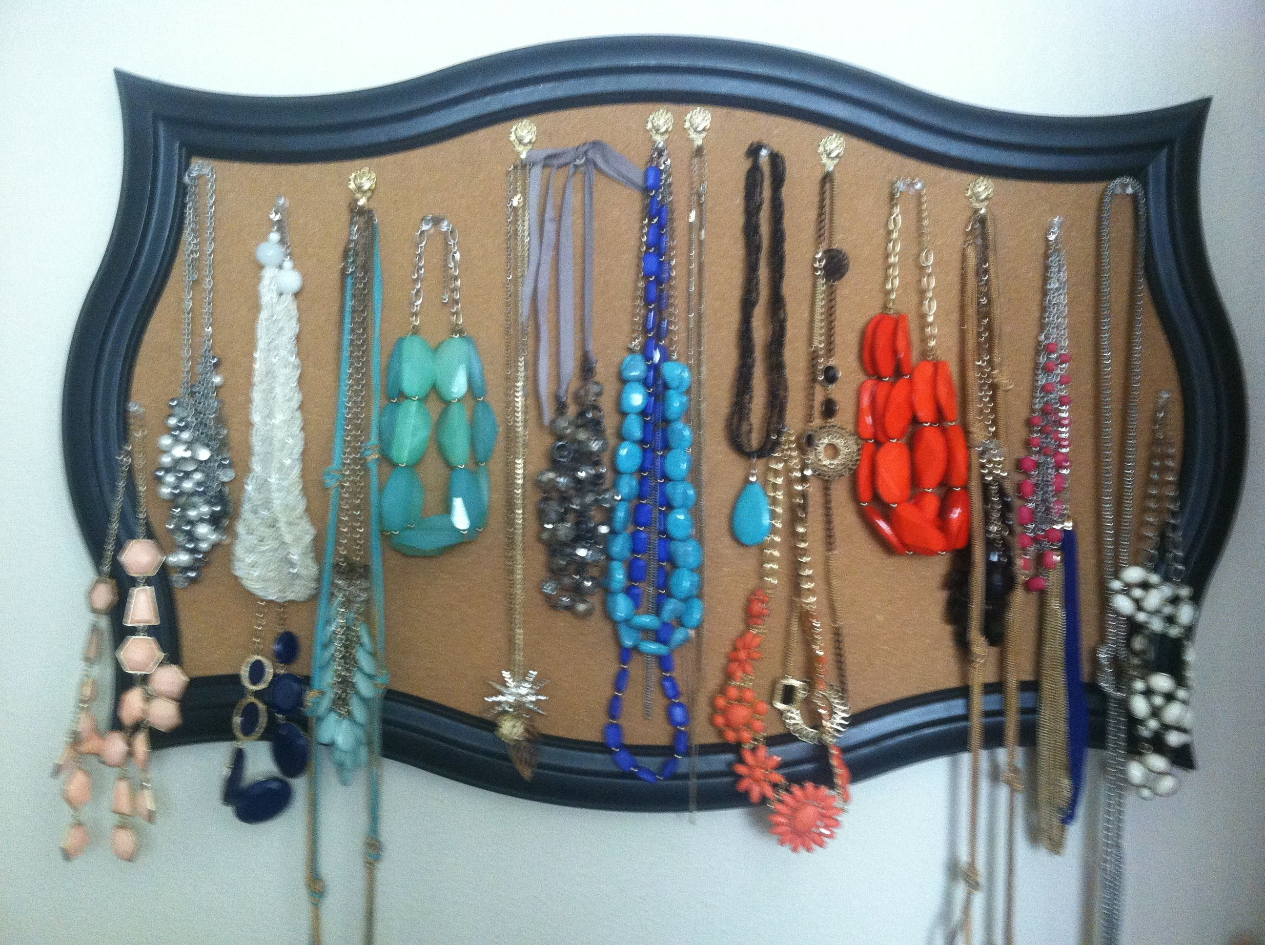 Necklace Storage Hanging Idea Using A Framed Cork Board And Push Pins To  Hold Jewelry.
