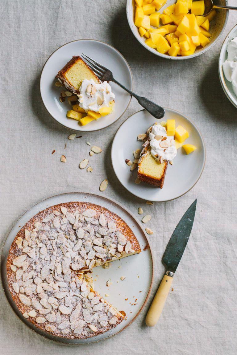 Almond spelt cake with mascarpone cream and mango recipe