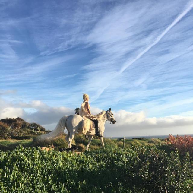 Lady Gaga Looks Absolutely Whimsical Riding Her Horse Barefoot In Malibu Lady Gaga Horses Lady