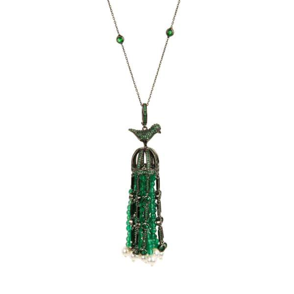 Latelita London Cascading Tassel Statement Necklace Silver Green Onyx