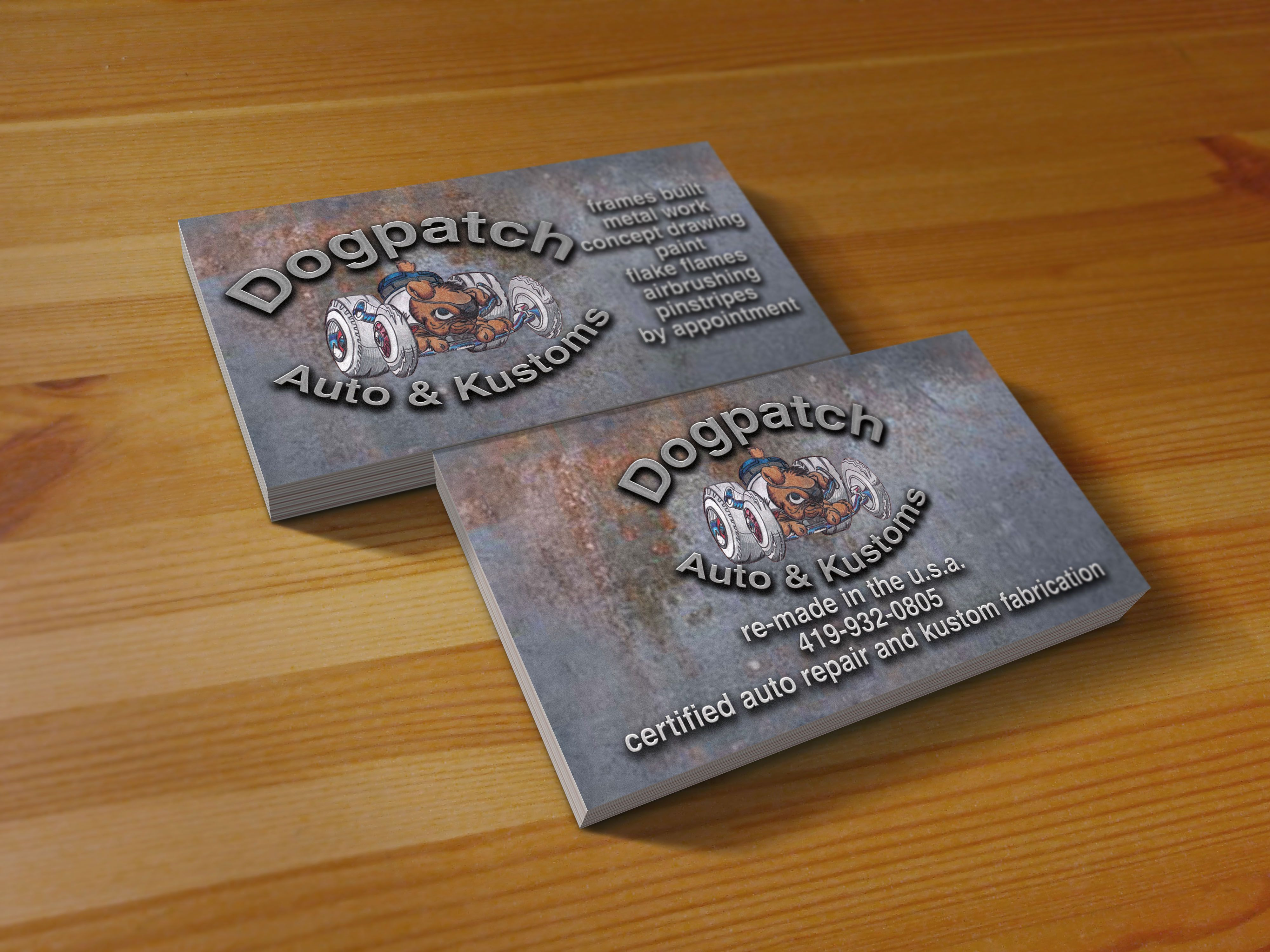 Business Card I designed for a local hot rod builder http://www ...