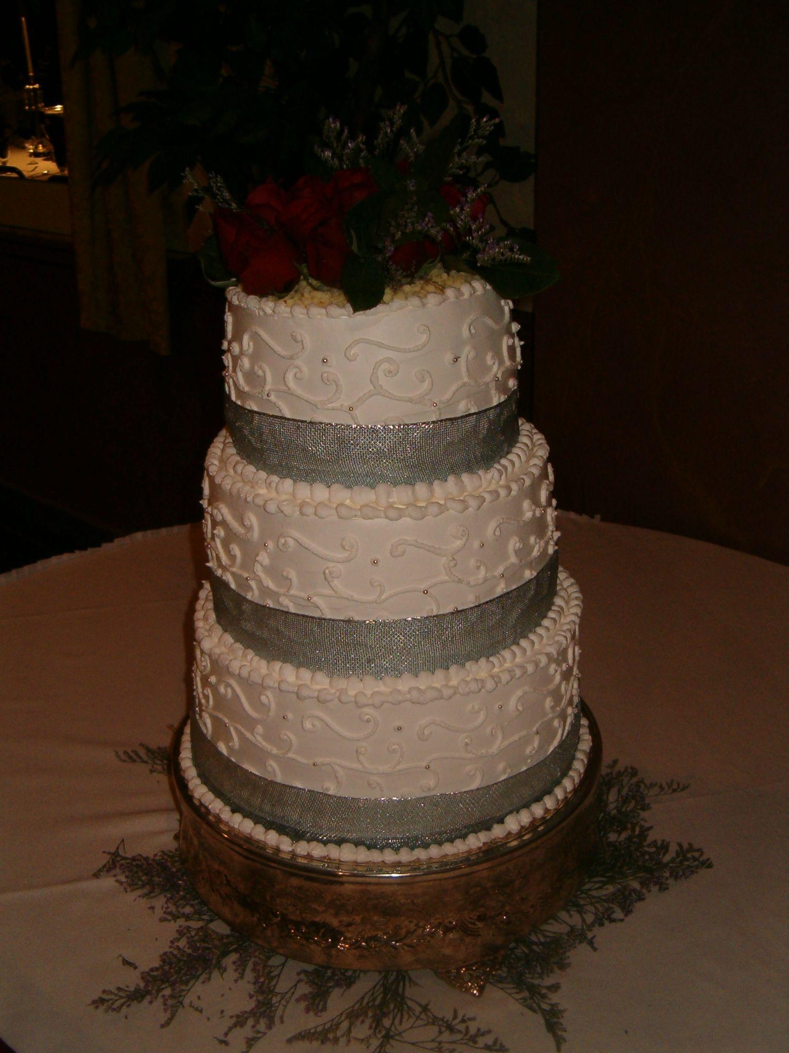 Burgundy White Silver Whipped Icing wedding cake