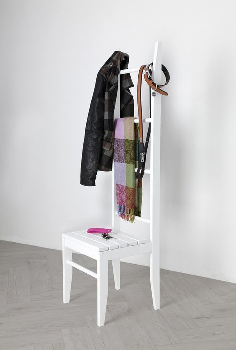 Kleiderstuhl Buche weiß lackiert aus dem Odenwald - Stummer Diener - handtuchhalter für küche