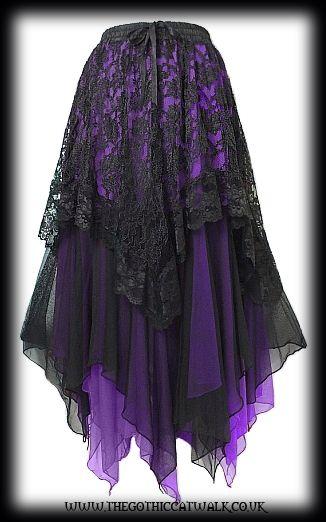2ed42114e53af Black Lace   Purple Chiffon Long Gothic Skirt