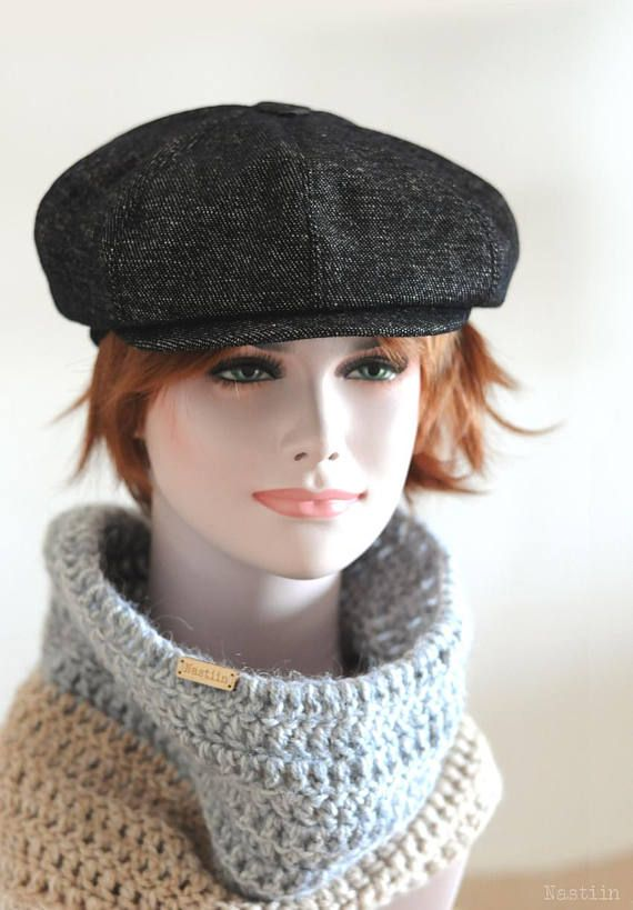 9ab157686 Black newspaper boy hat Womens tweed hat Mens newsboy cap Women ...