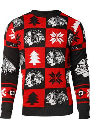 buy popular afccd cd966 Chicago Blackhawks Mens Red Patches Ugly Crew Neck Sweater ...