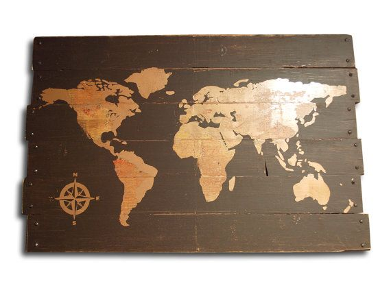 Large brown and copper painted world map and compass wall art on items similar to large brown and copper painted world map and compass wall art on distressed solid wood 33 x 21 on etsy gumiabroncs Choice Image