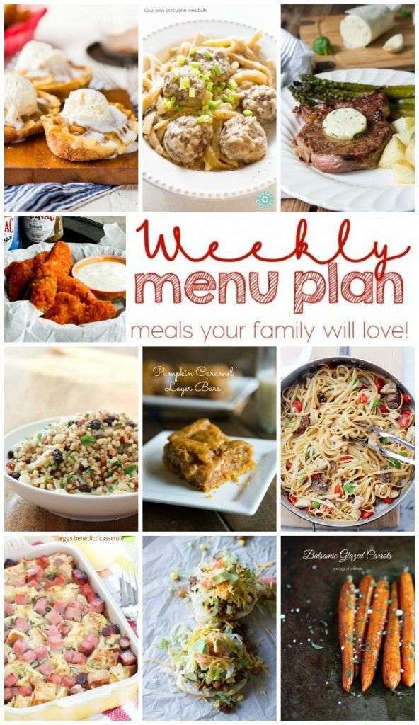 Weekly Meal Plan Week 16 - 10 great bloggers bringing you a full week of recipes including dinner, sides dishes, and desserts! #weeklymealprep