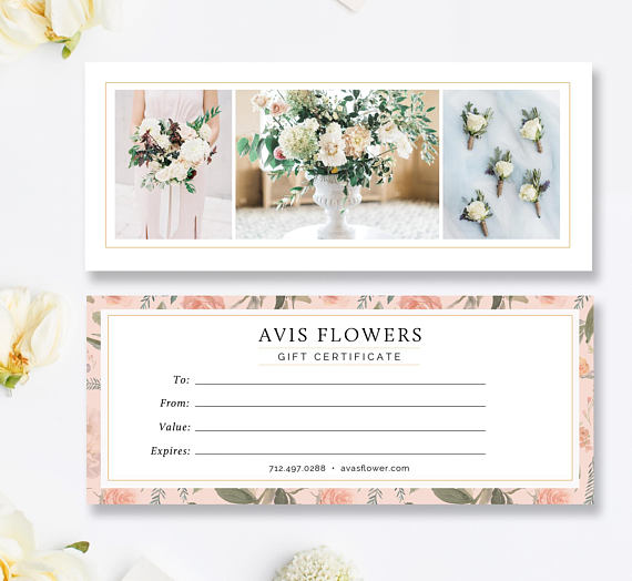Florist Gift Certificate Template Gift Voucher Printable Gift Card Template Gift Certificate Template Card Template