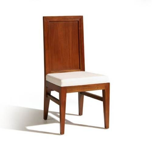 Silla de comedor con respaldo de madera y asiento tapizado ...